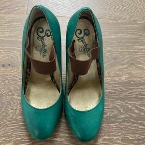 Seychelles heels turquoise custom Mary Jane strap